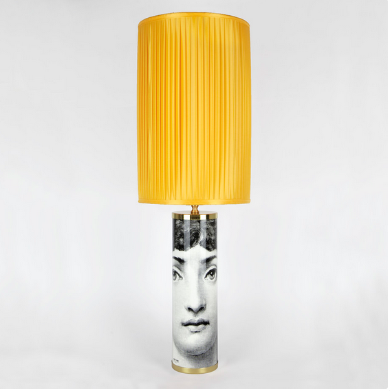 Fornasetti Silk pleated lampshade, yellow