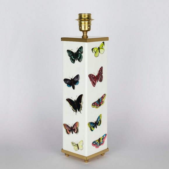 Fornasetti Square lamp base Farfalle colour/white