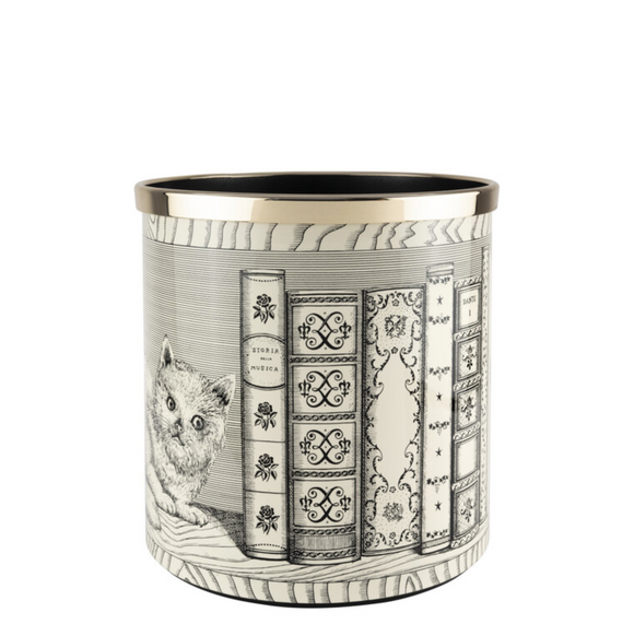 Fornasetti Paper Basket Cat with Libri Black on Ivory