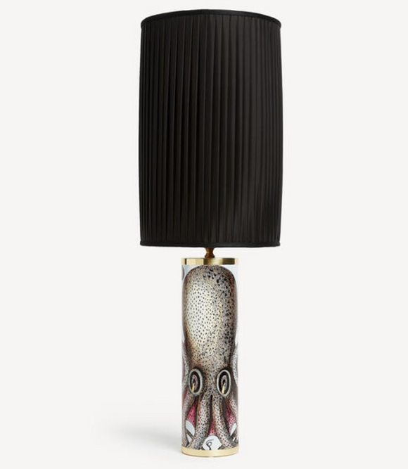 Fornasetti Cylindrical lamp base Octopus colour - chromed base - Milk Concept Boutique