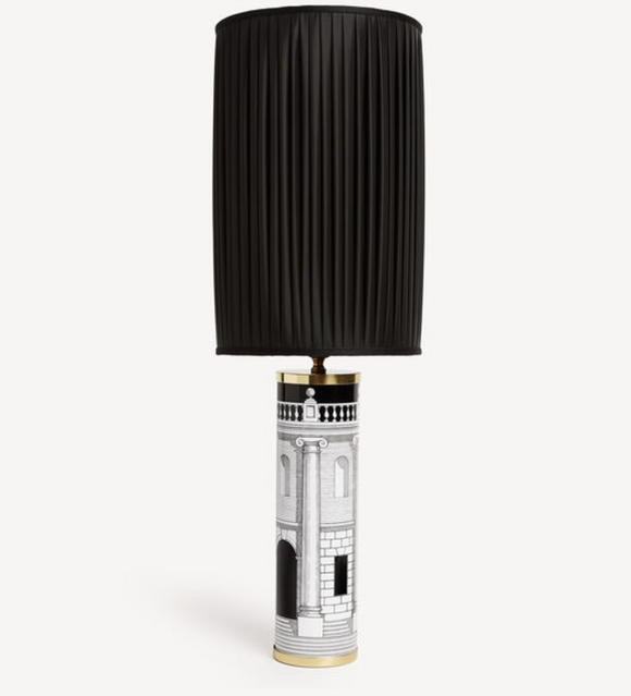 Fornasetti Cylindrical lamp base Casa con Colonne black/white - Milk Concept Boutique