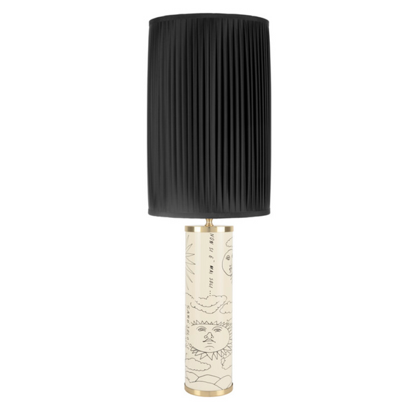 Fornasetti Cylindrical lamp base Solitario black on ivory - Milk Concept Boutique