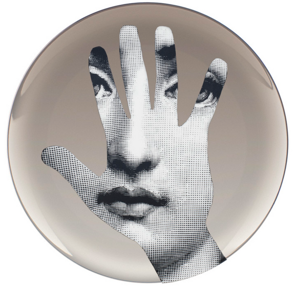 Fornasetti Wall Plate T&V 15 in platinum - Milk Concept Boutique