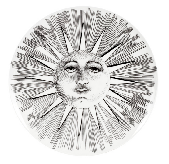 Fornasetti plate Soli e Lune, Sun and Moon n°5 black/white - Milk Concept Boutique
