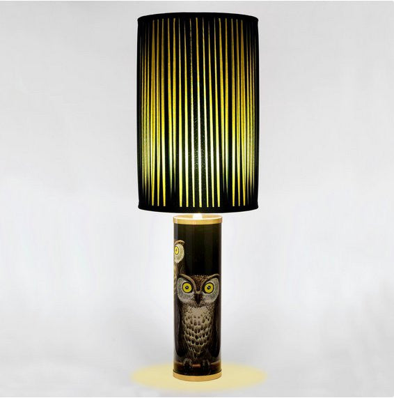 Fornasetti Silk pleated lampshade, black/yellow
