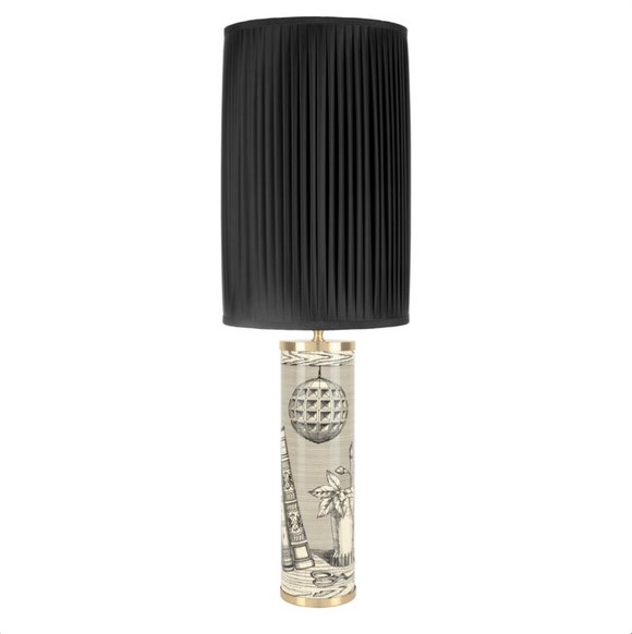 Fornasetti Cylindrical lamp base Libri black on ivory - Milk Concept Boutique