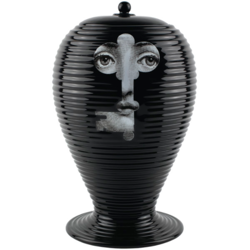 Fornasetti Vase Rigato serratura black/white on black - Milk Concept Boutique