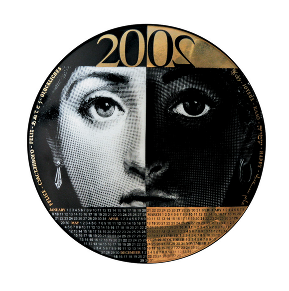 Fornasetti Calendar Plate 2002 black/white/gold - Milk Concept Boutique