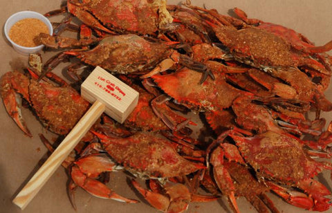Crab Special - (2) Dozen Large Blue Crabs- 2 lbs gulf shell on shrimp- (2) Crabs Mallets