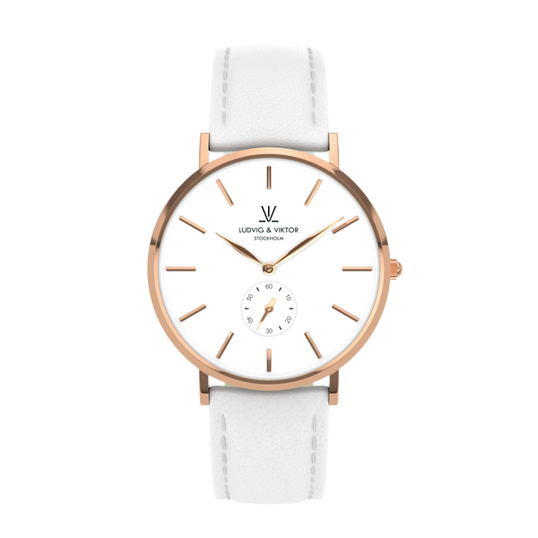 La Suède Rose Gold White/White Leather