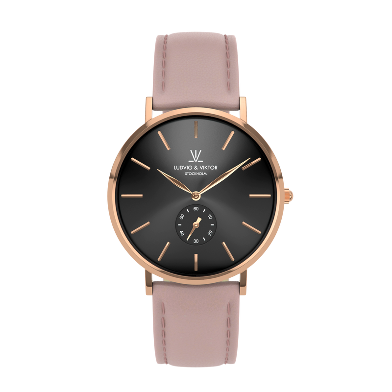 La Suède Rose Gold Black/Light Pink Leather