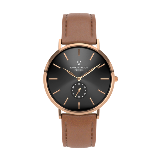 La Suède Rose Gold Black/Light Brown Leather