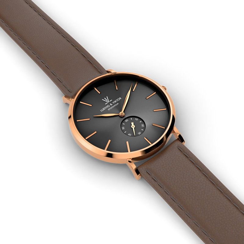 La Suède Rose Gold Black/Brown Leather