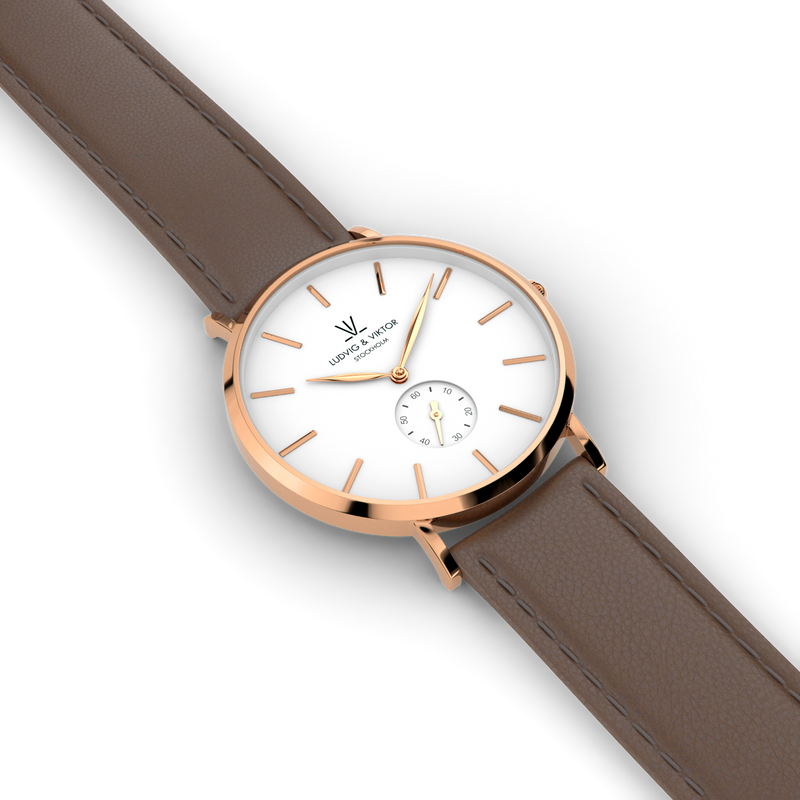 La Suède Rose Gold White/Brown Leather
