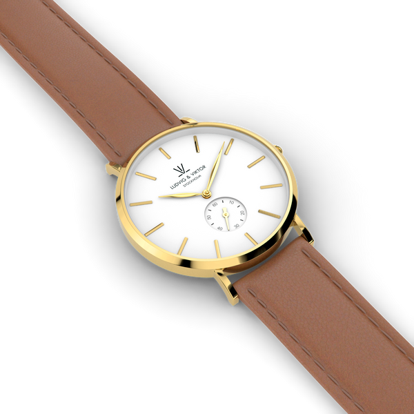 La Suède Gold White/Light Brown Leather