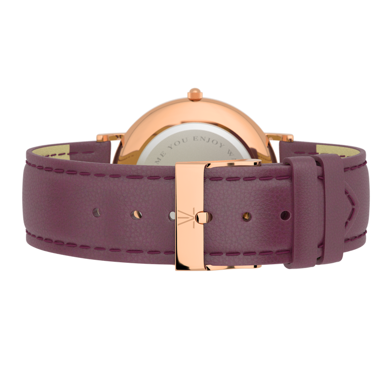 La Suède Rose Gold White/Purple Leather