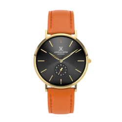 La Suède Gold Black/Orange Leather