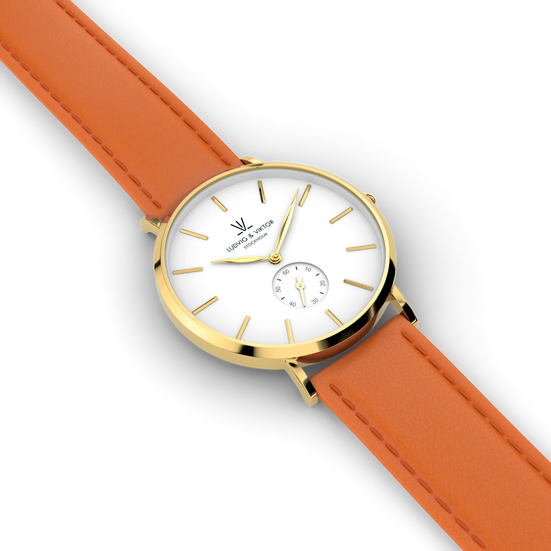 La Suède Gold White/Orange Leather