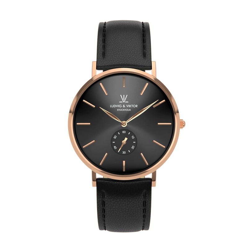 La Suède Rose Gold Black/Black Leather