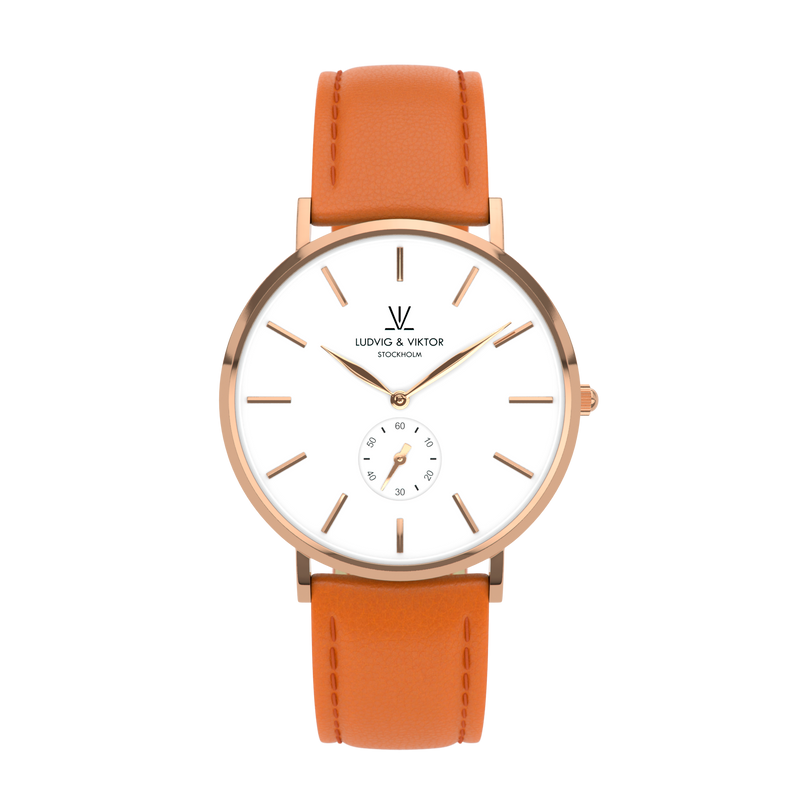La Suède Rose Gold White/Orange Leather