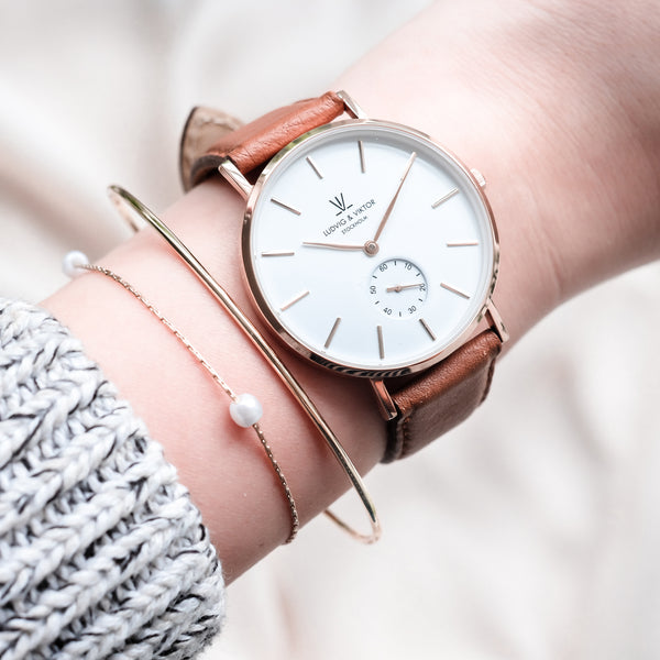 La Suède Rose Gold White/Light Brown Leather