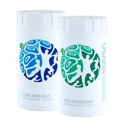 CellSentials™ with FREE Mask Tie-on 5pc (USANA's triple-action cellular nutrition system: Core Minerals™ and Vita Antioxidant™)