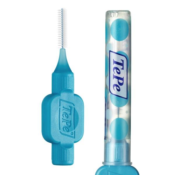 Tepe Interdental Brushes (FREE 1 pc Toothbrush) BLUE / wire 0.6 mm - 25 pcs with individual cap, FREE Delivery