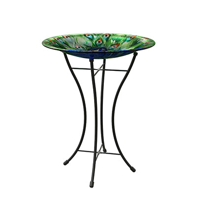 Woodlink Peacock Glass Garden Birdbath