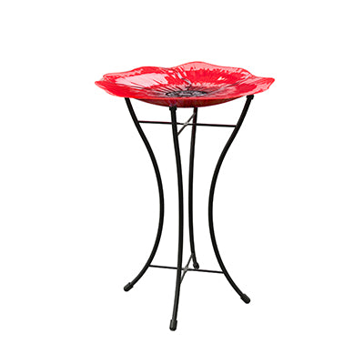 Woodlink Red Poppy Garden Glass Birdbath