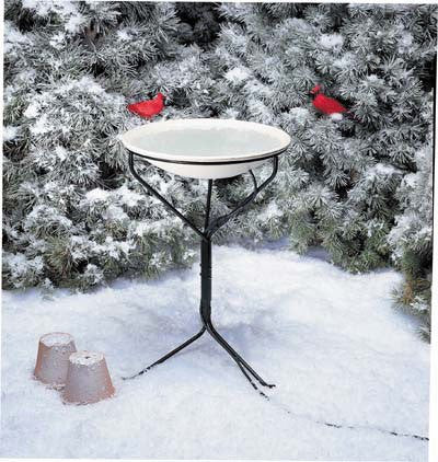 API Heated Oasis Bird Bath w/ Metal Stand