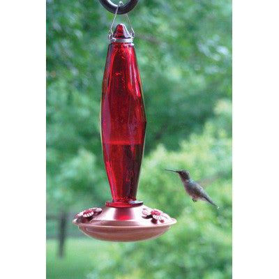 Copper Color Hummingbird Feeder - Jewel Cut Ruby Glass Medium