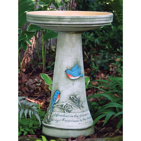 Hand-Crafted Glazed Clay Bluebird Birdbath