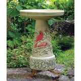 Hand-Crafted Cardinal Clay Birdbath