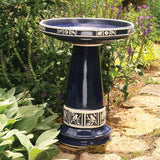 Cobalt Blue Glazed Clay Birdbath