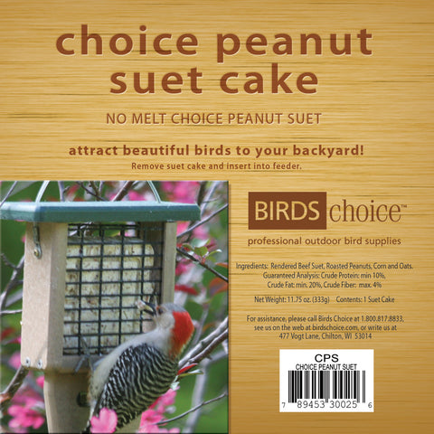 Birds Choice Peanut Suet Cake - 12 Pack