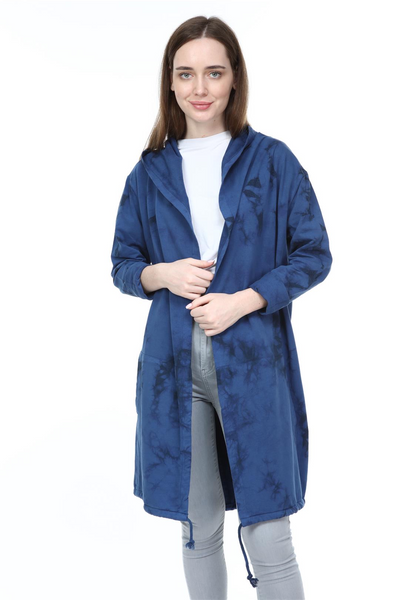 Navy Long Tie Die Frd Khlo Print Cotton Cardigan with Hood