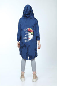 Navy Long Tie Die Frd Khlo Print Cotton Cardigan with Hoodie S-Ponder