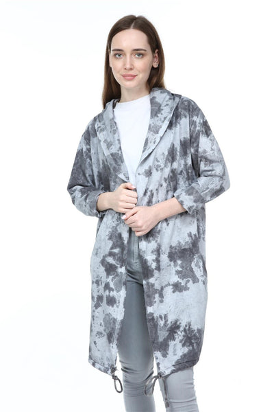 Anthracite Long Tie Die Make A Face Print Cotton Cardigan with Hood