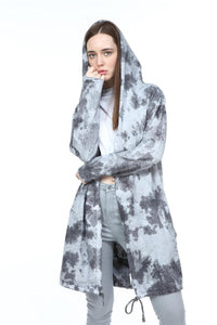 Anthracite Long Tie Die Make A Face Print Cotton Cardigan with Hoodie S-Ponder