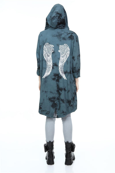 Green Long Tie Die Sparkle Angel Wings Cotton Cardigan with Hoodie S-Ponder