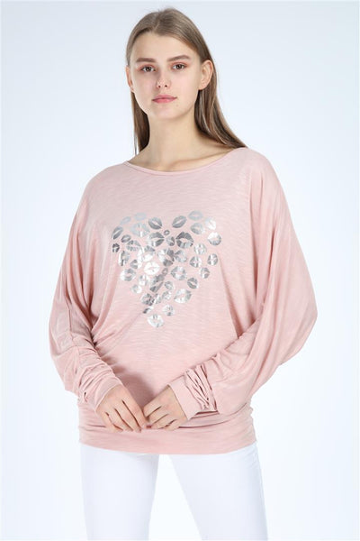 Pink Shinny Kisses Heart Print Women Cotton Top