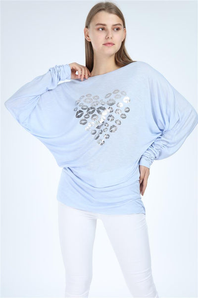 Baby Blue Shinny Kisses Heart Print Women Cotton Top