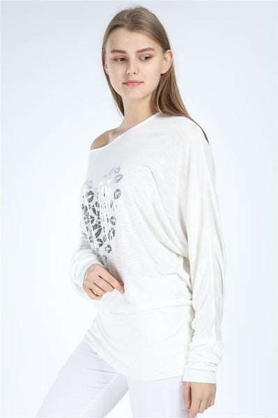 White Shinny Kisses Heart Print Women Cotton Top