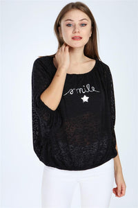 Black Sparkle Smile Women Long Sleeve Top Tee T-shirt Tshirt S-Ponder
