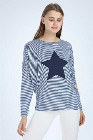 Navy White Striped Star Printed Women Cotton Long Sleeve T-shirt Top Tee tshirt S-Ponder