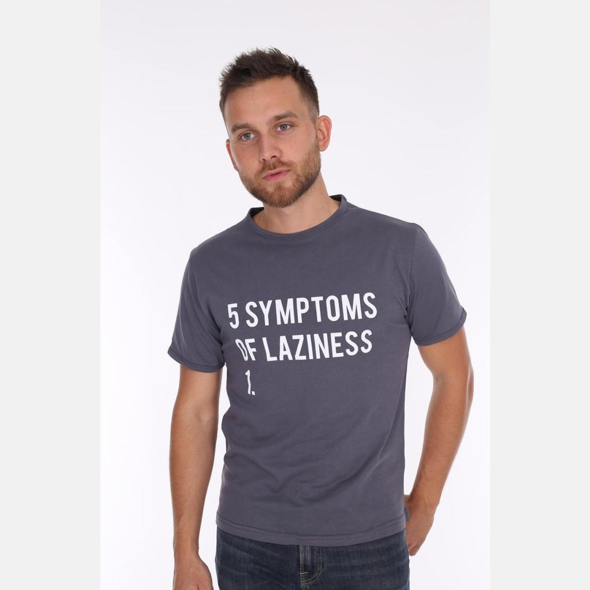 Grey Anthracite 5 Symptoms of Laziness Printed Cotton Men Unisex T-Shirt Tee Top S-Ponder