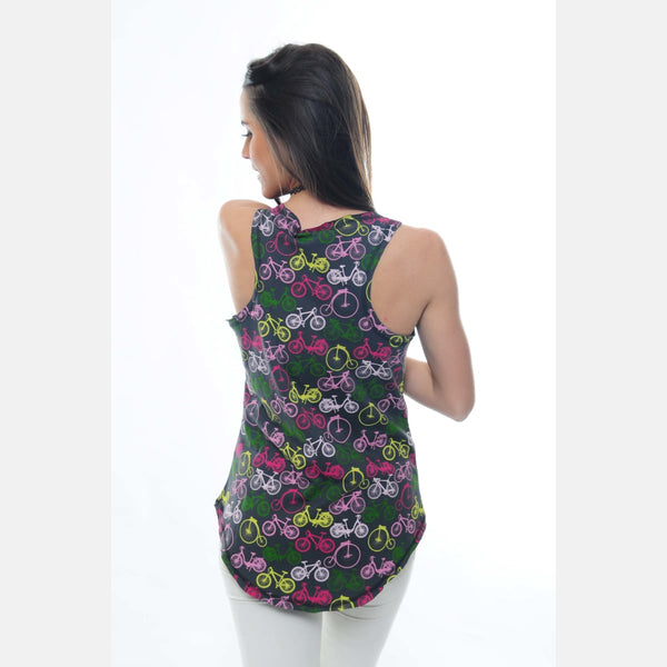 Anthracite All Over Bicycle Printed Cotton Women Vest -