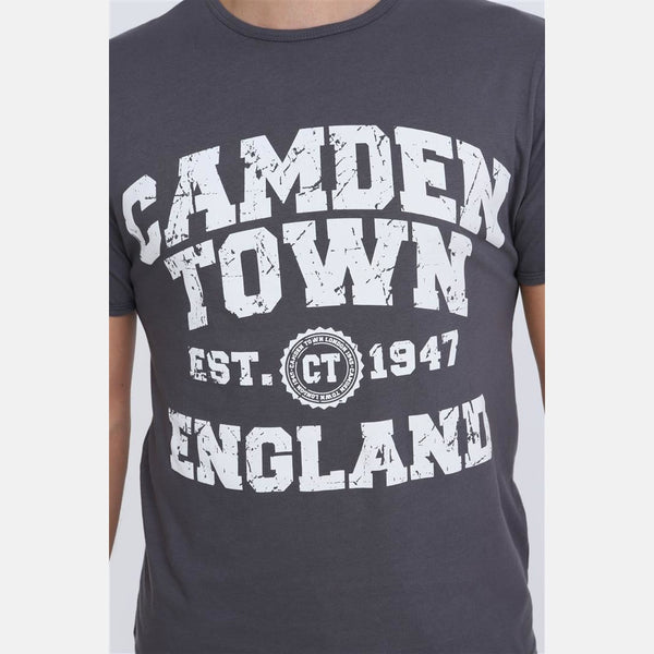 Anthracite Camden Town Printed Cotton Men T-Shirt - S-Ponder