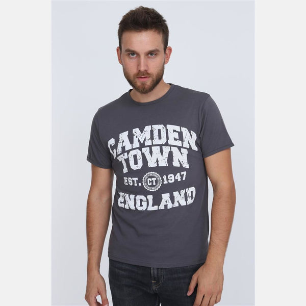 S-PONDER Anthracite Camden Town Printed Cotton Men T-Shirt Tee Top