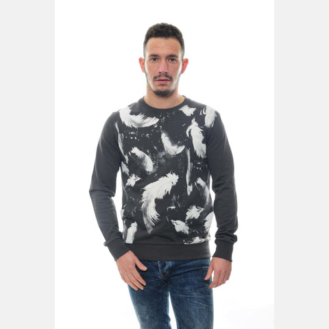 S-Ponder Anthracite Feather Printed Cotton Sweatshirt